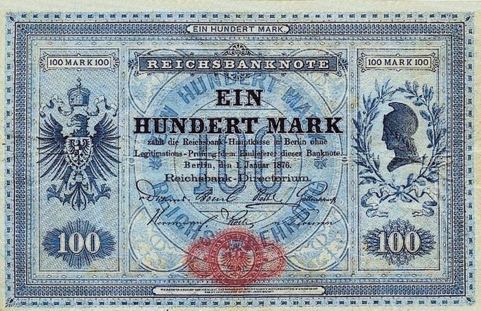 Reichsbanknote 100 Mark 01.01.1876 Vorderseite