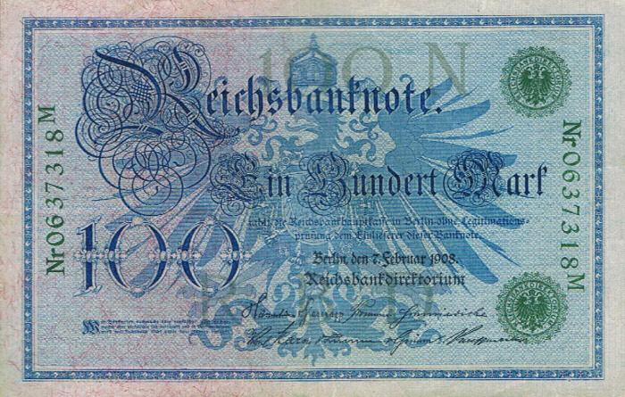 Reichsbanknote 100 Mark 07.02.1908 Vorderseite