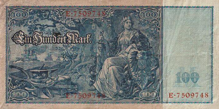 Reichsbanknote 100 Mark 21.04.1910 Rückseite