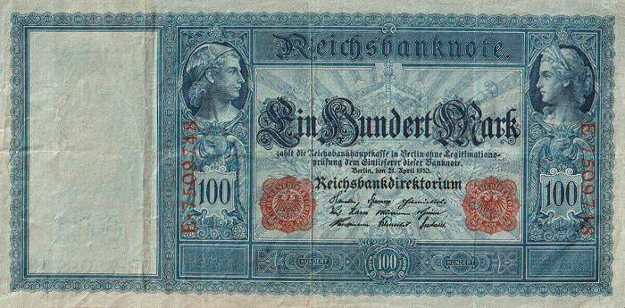 Reichsbanknote 100 Mark 21.04.1910 Vorderseite