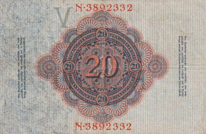 Reichsbanknote 20 Mark 19.02.1914, Rückseite