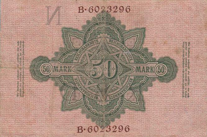 Reichsbanknote 50 Mark 21.04.1910 Rückseite