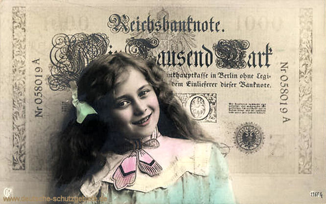 Reichsbanknote 1000 Mark, Postkarte