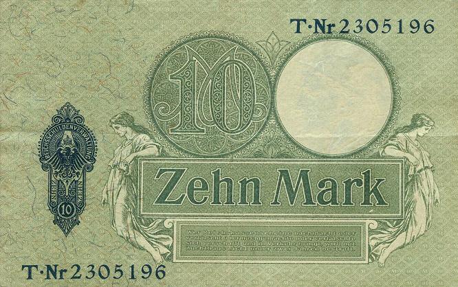 Reichskassenschein 10 Mark 06.09.1906 Rückseite