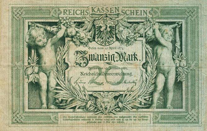Reichskassenschein 20 Mark 10.01.1882 Vorderseite