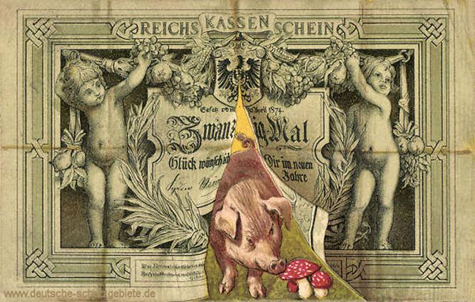 Reichskassenschein 20 Mark, Postkarte