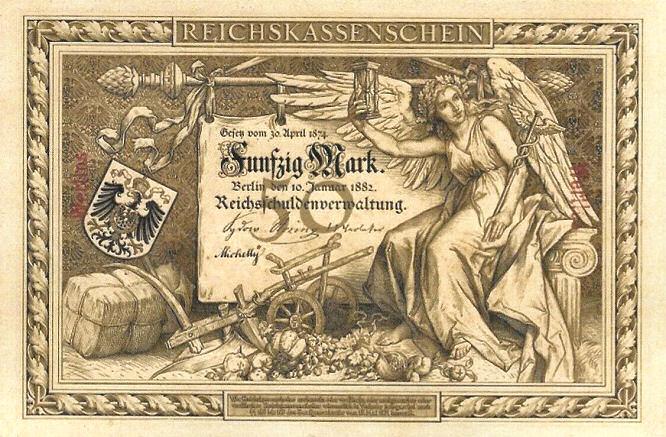 Reichskassenschein 50 Mark 10.01.1882 Vorderseite