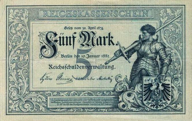 Reichskassenschein 5 Mark 10.01.1882 Vorderseite