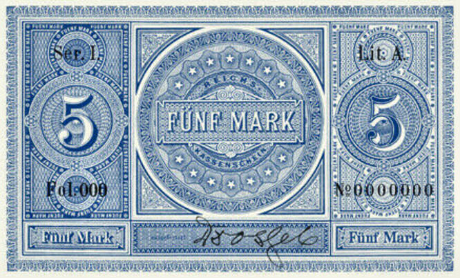 Reichskassenschein 5 Mark 11.07.1874 Rückseite