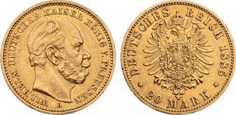 Deutsches Reich 20 Mark 1885 (Preußen)