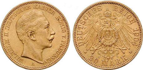 Deutsches Reich 20 Mark 1904 (Preußen)