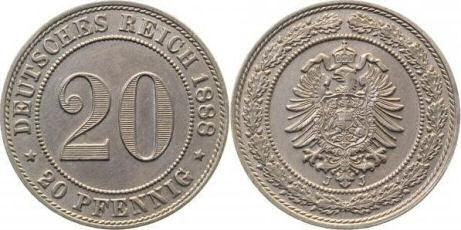 Deutsches Reich 20 Pfennig 1888