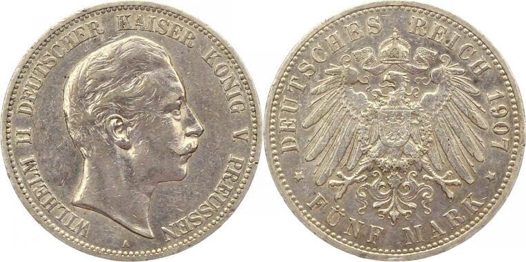 Deutsches Reich 5 Mark 1907 (Preußen)