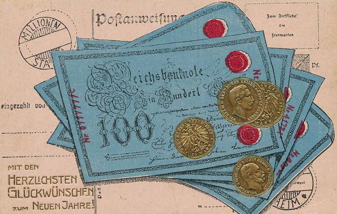 Münzen, Postkarte