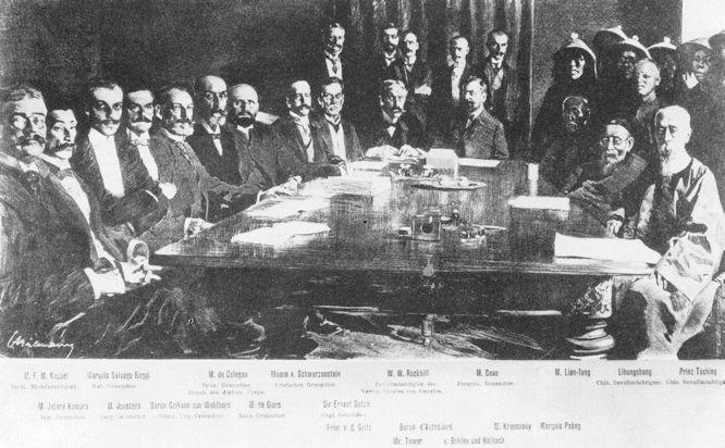 Unterzeichnung des Abschlussprotokolls am 7. September 1901.