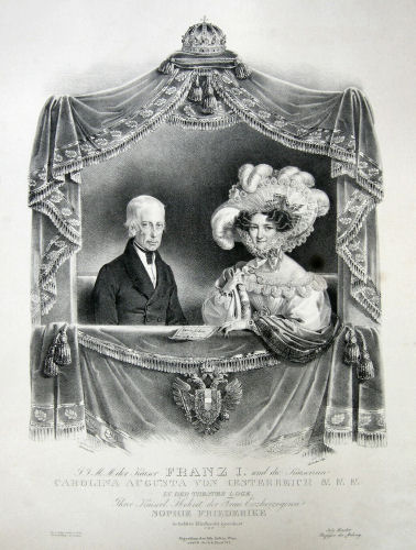 Kaiser Franz I. und die Kaiserin Carolina Augusta von Österreich in der Theater-Loge.