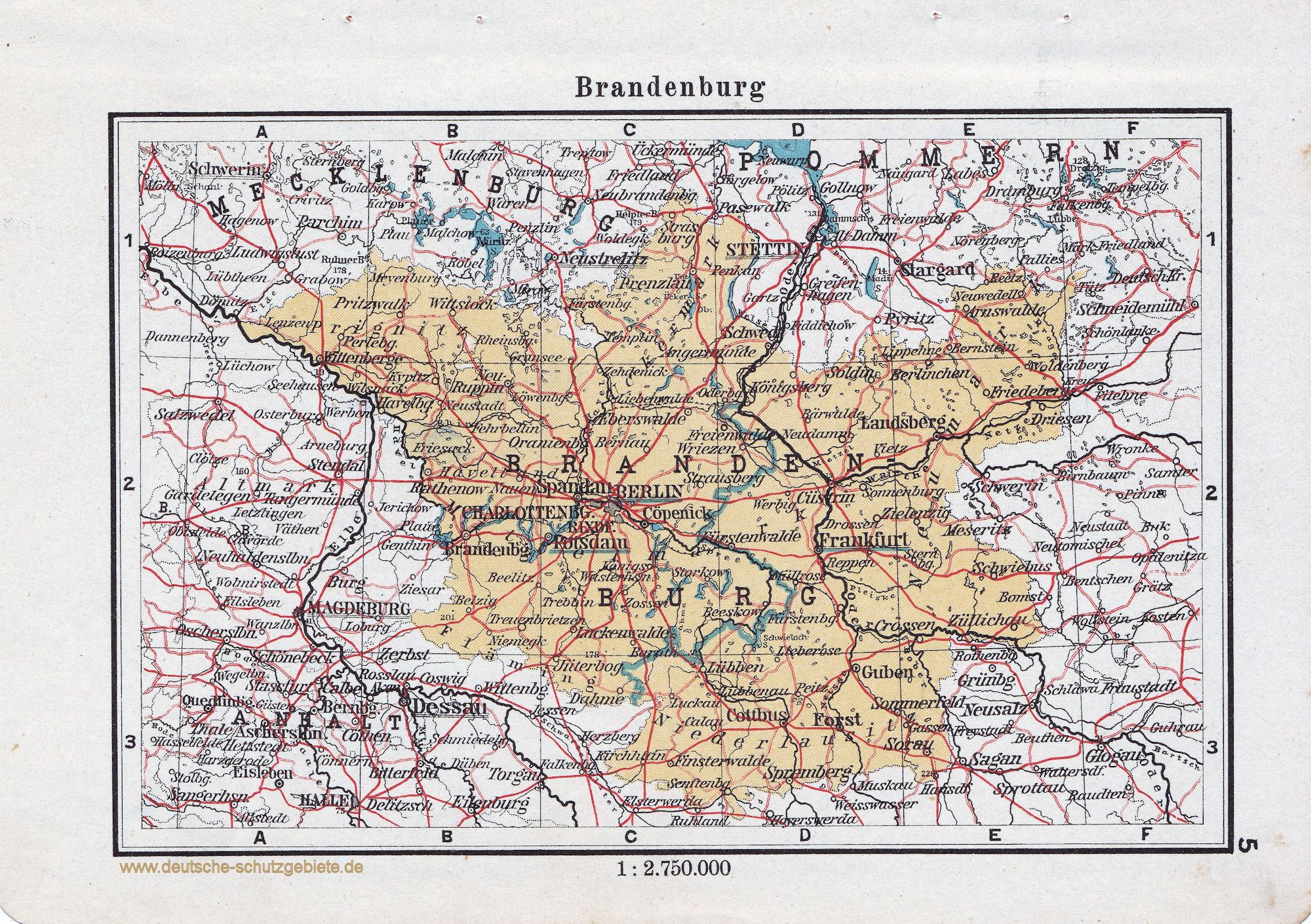 Landkarte Brandenburg