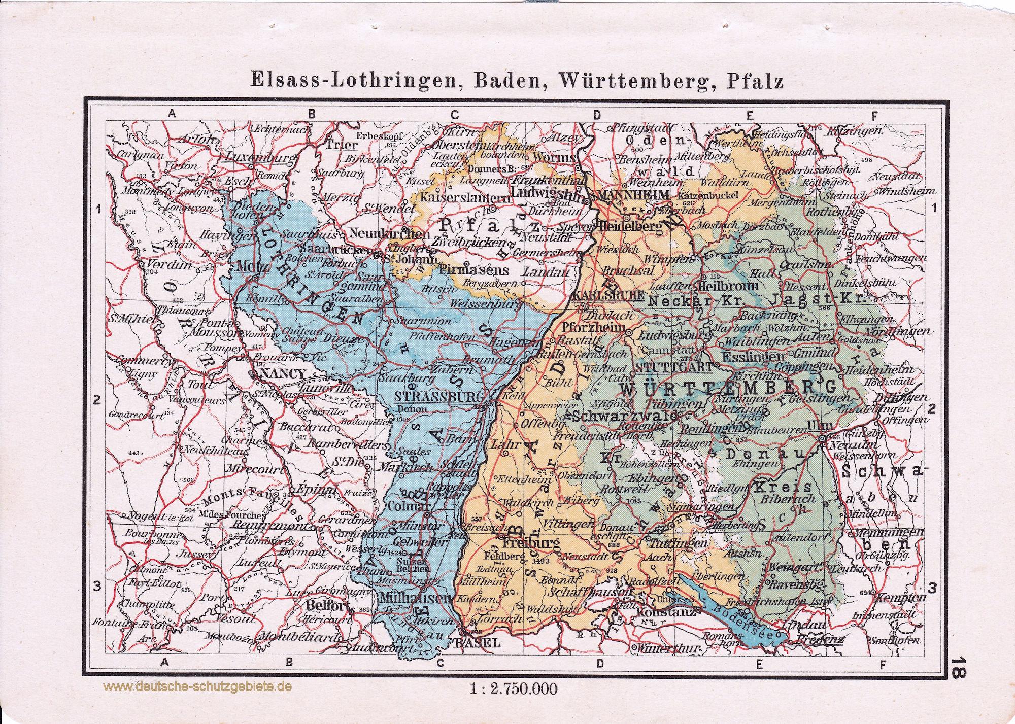 Landkarte Elsass Lothringen Baden Wurttemberg Pfalz Deutsche