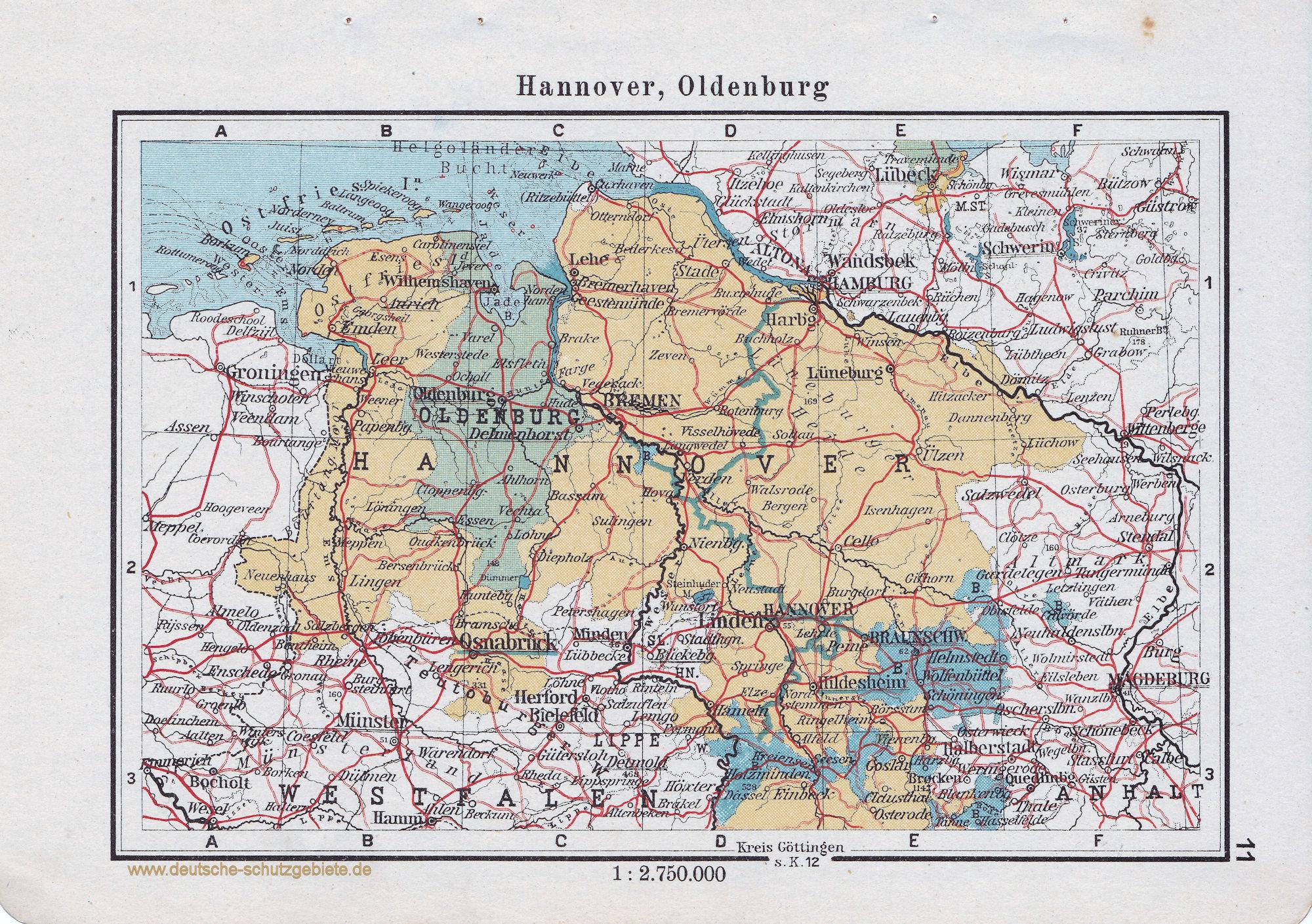 Landkarte Hannover Oldenburg Braunschweig Deutsche