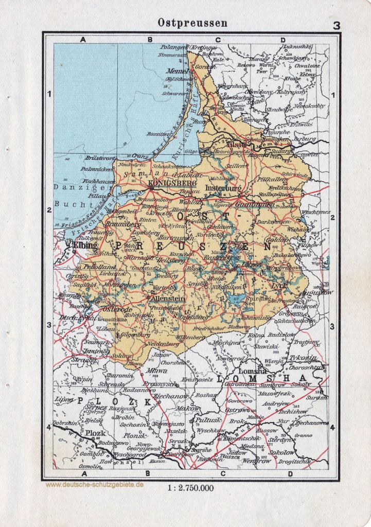 Landkarte Ostpreussen