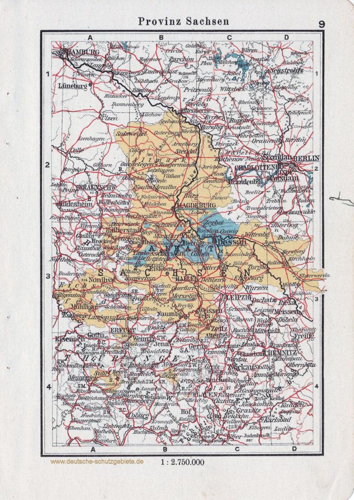 Landkarte Provinz Sachsen und das Herzogtum Anhalt