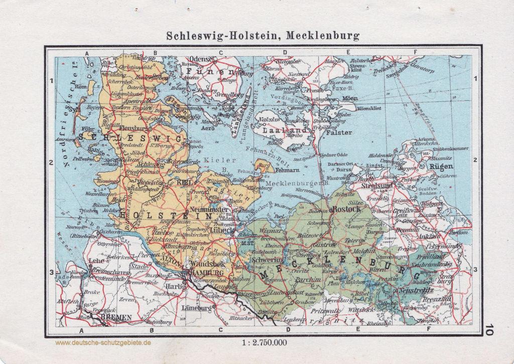 Landkarte Schleswig-Holstein, Mecklenburg, Bremen, Hamburg, Lübeck