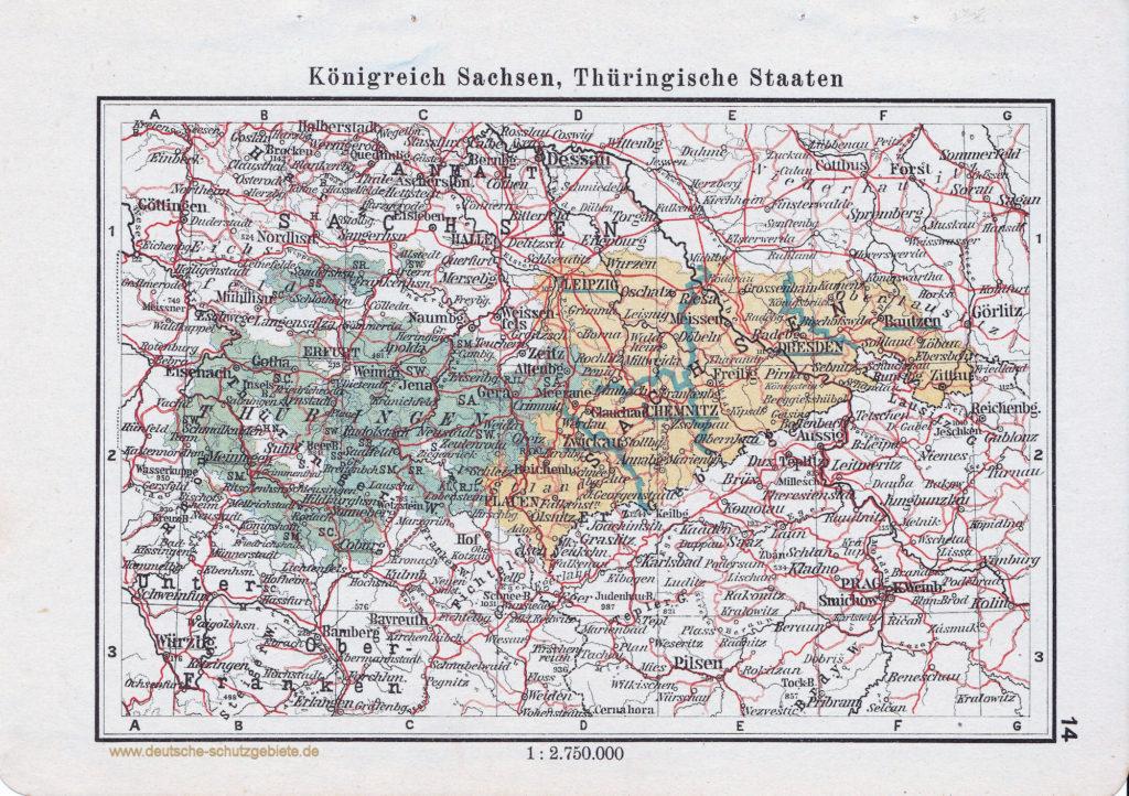 Landkarte Königreich Sachsen, Thüringische Staaten