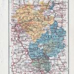 Landkarte Westfalen, Hessen-Nassau, Großherzogtum Hessen, Schaumburg-Lippe, Lippe, Waldeck