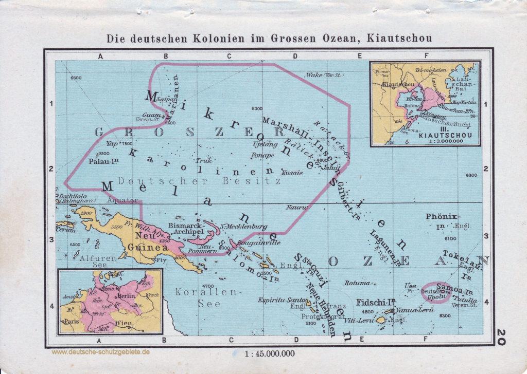 Landkarte die deutschen Kolonien im Großen Ozean, Kiautschou
