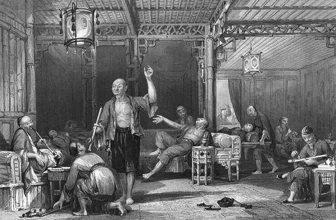 China Drug Addicts Smoking Room 1842