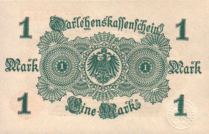 Darlehenskassenschein 1 Mark 12.08.1914 Rückseite
