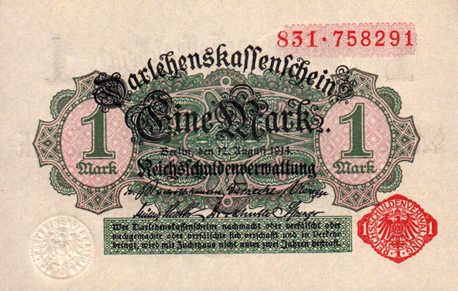 Darlehenskassenschein 1 Mark 12.08.1914 Vorderseite