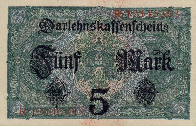Darlehenskassenschein 5 Mark 01.08.1917 Rückseite