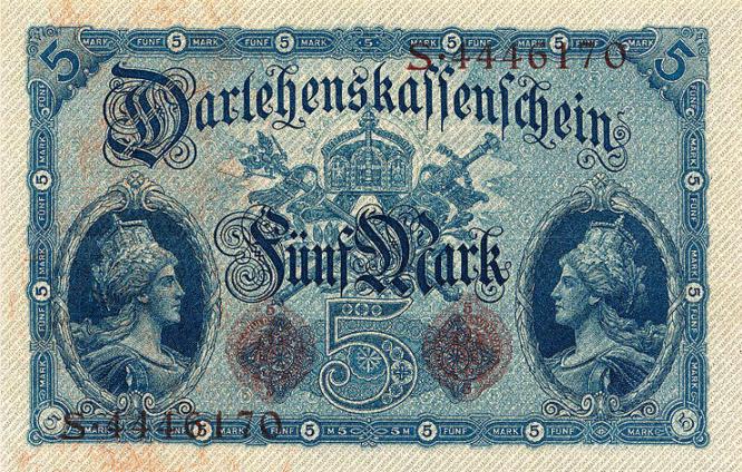 Darlehenskassenschein 5 Mark 05.08.1914 Rückseite
