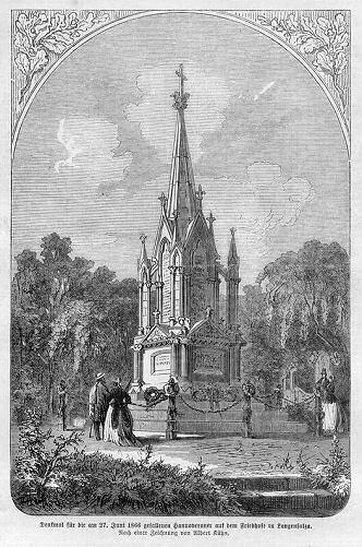 Denkmal für die am 27. Juni 1866 gefallenen Hannoveraner auf dem Friedhof zu Langensalza.