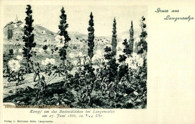 Kampf um das Badewäldchen bei Langensalza am 27. Juni 1866, ca 3/4 4 Uhr.
