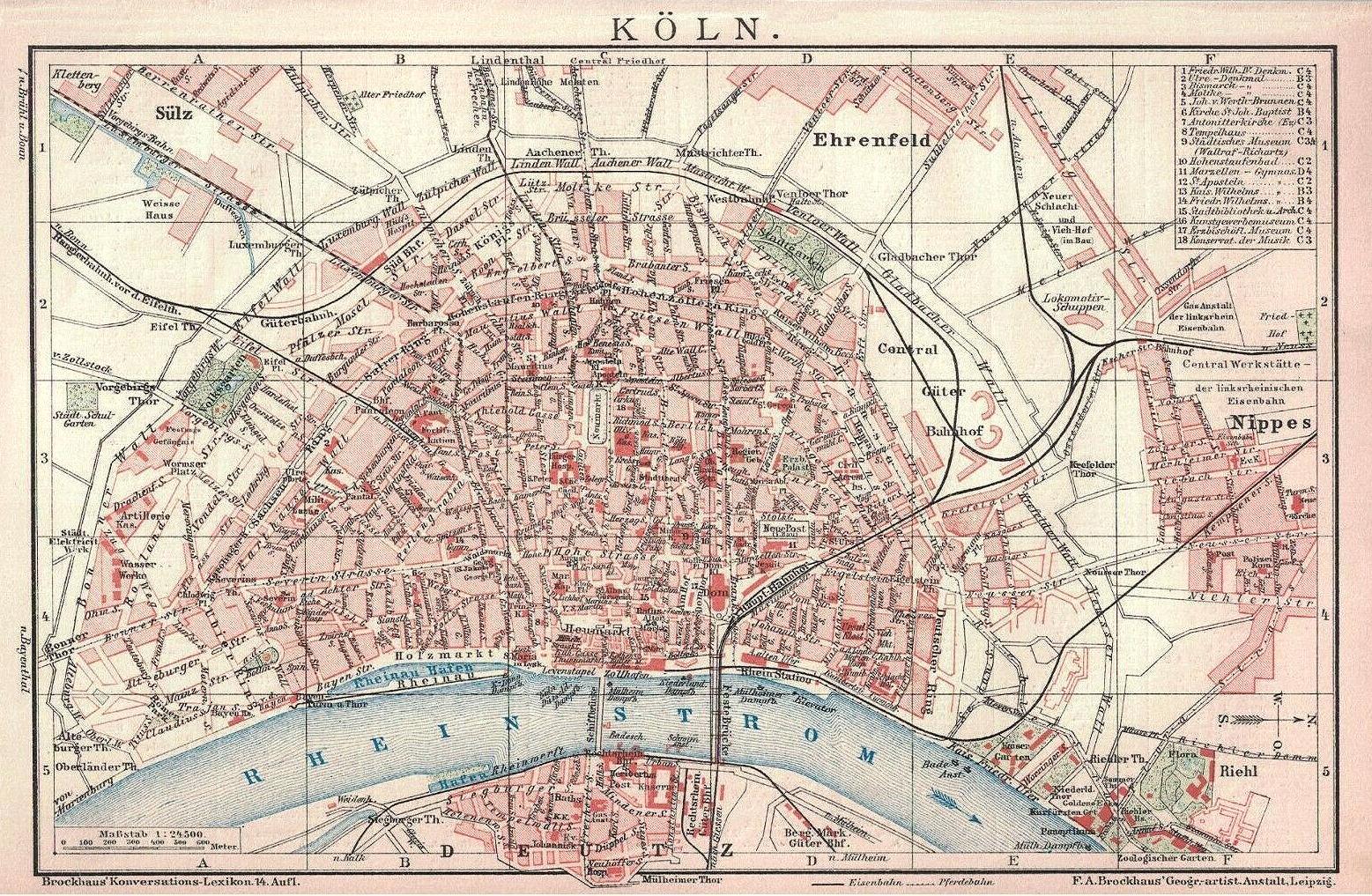 Köln Stadtplan 1905 (Brockhaus Konversations-Lexikon 14. Auflage)