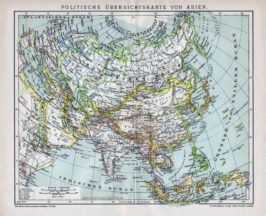 Politische Übersichtskarte von Asien, 1892