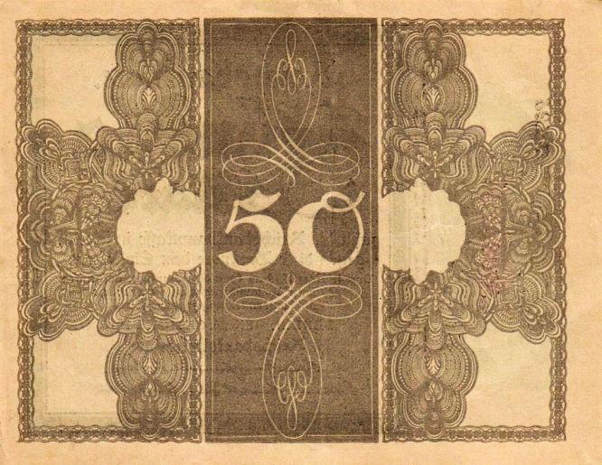 Reichsbanknote 50 Mark 20.10.1918 Rückseite