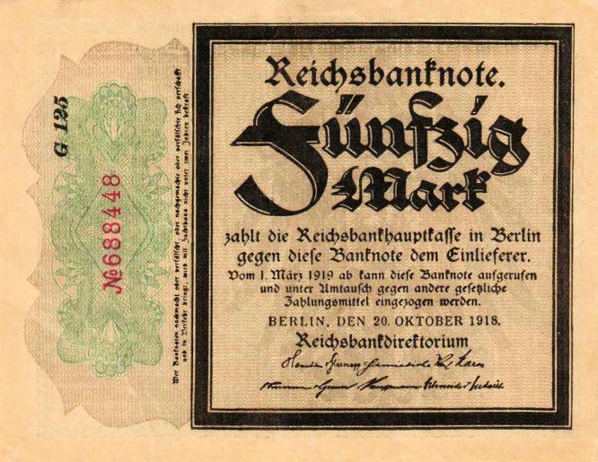 Reichsbanknote 50 Mark 20.10.1918 Vorderseite