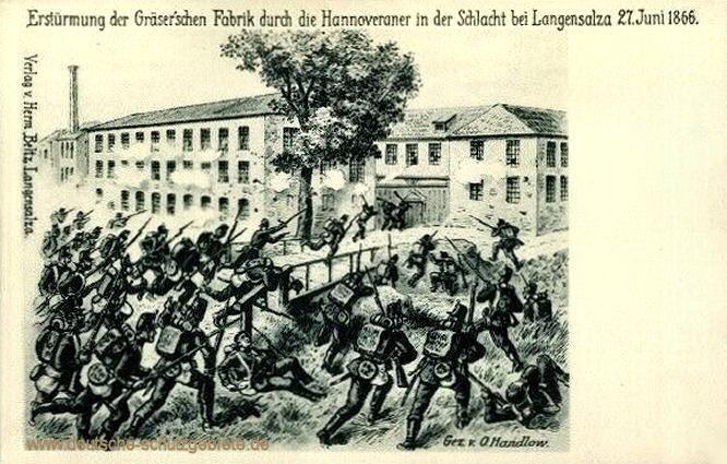 Erstürmung der Gräser'schen Fabrik durch die Hannoveraner in der Schlacht bei Langensalza 27. Juni 1866