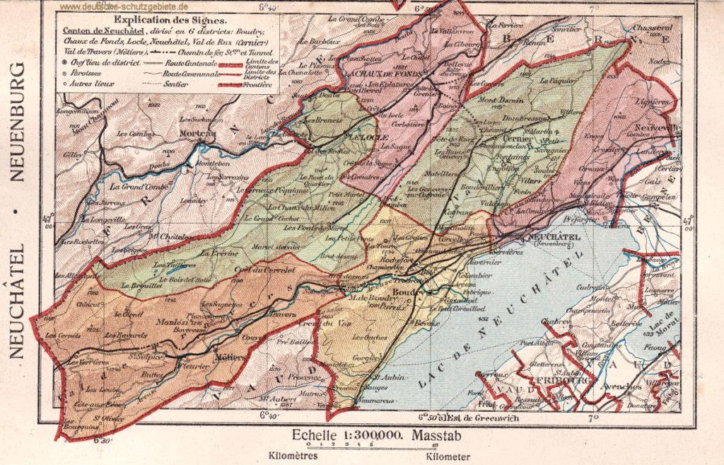 Landkarte Kanton Neuenburg 1918