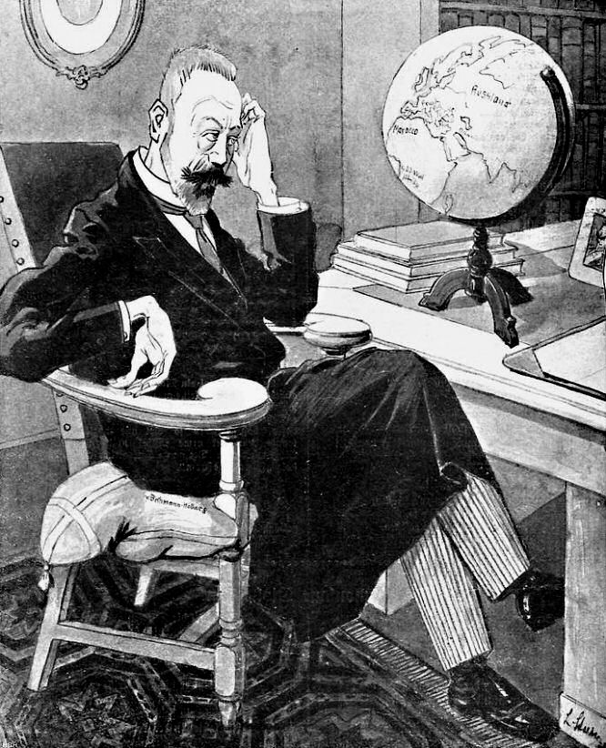 "v. Bethmann-Faust: ""Habe nun, ach, Philosophie, Juristerei durchaus studiert, doch, leider nicht, Diplomatie."" (Kladderadatsch, Berlin, den 25. Juli 1909)"