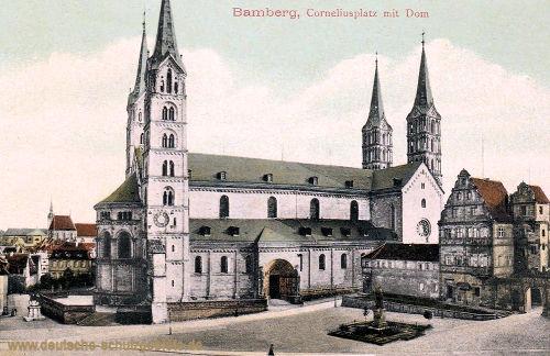 Bamberg, Corneliusplatz mit Dom