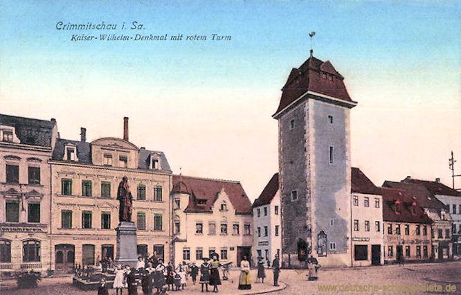 Crimmitschau, Kaiser-Wilhelm-Denkmal mit rotem Turm