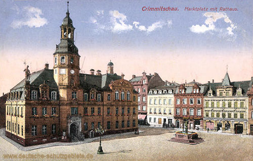 Crimmitschau, Marktplatz mit Rathaus