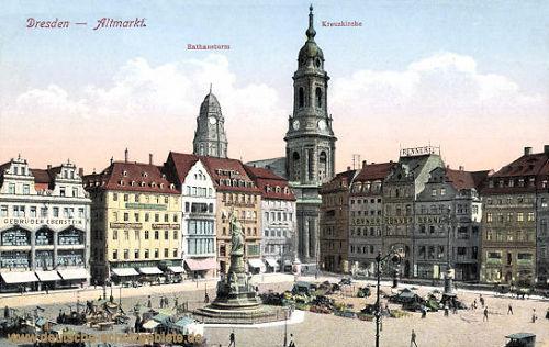 Dresden, Altmarkt, Rathausturm, Kreuzkirche