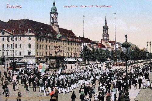 Dresden, Neustädter Markt und Hauptstraße