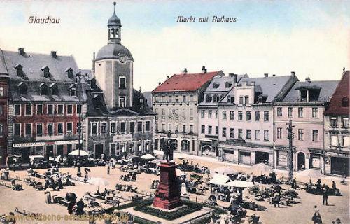 Glauchau, Markt mit Rathaus
