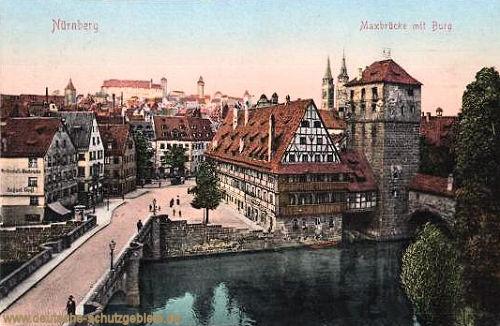 Nürnberg, Maxbrücke mit Burg